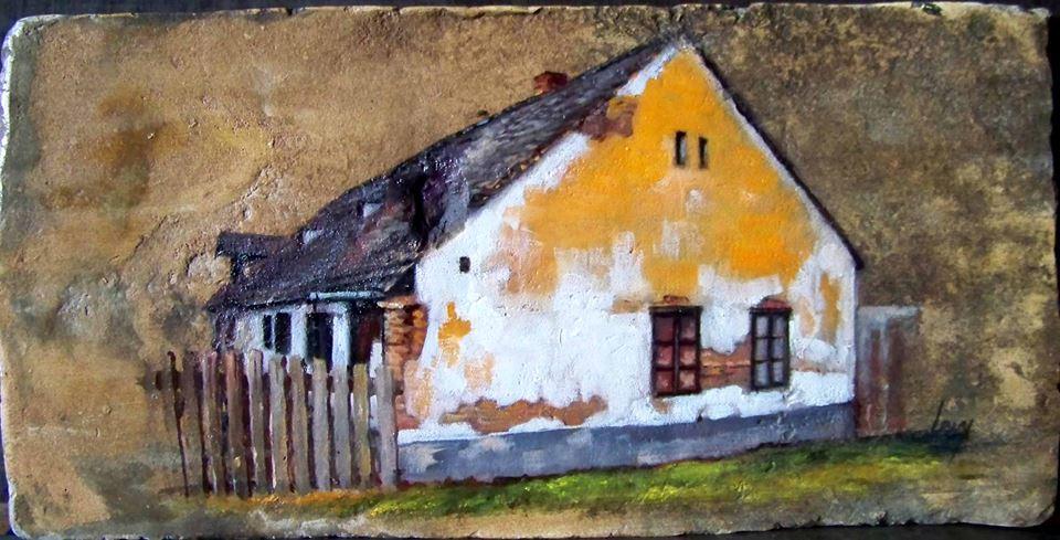Vár utcai ház 2. olaj, 18. szd.-i tetőcserép, 18x36 cm