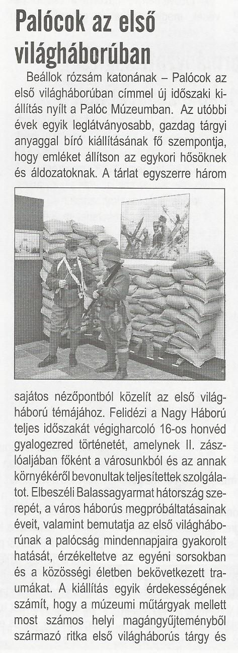 GYJ_2016. június_Palócok az első világháborúban