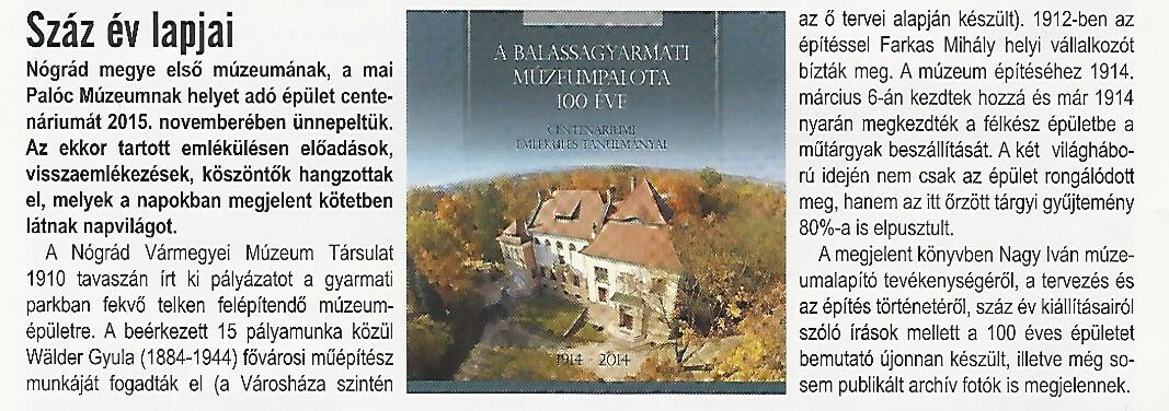 Gyarmati Hírek_100 éves Múzeumaplota kiadvány