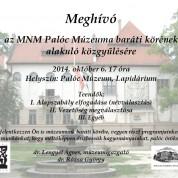 múzeum baráti kör alakuló közgyűlés 2014.10.06. 17 óra